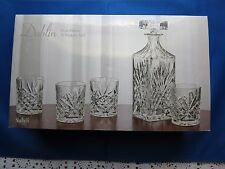 New! Dublin Five Piece Whiskey Set by Godinger - Iob - Decanter & Four Glasses