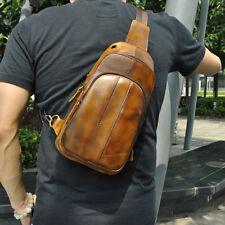 Mens Real Cowhide Leather Sling Messenger Shoulder Chest Bag Fanny Pack Backpack