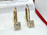 0.70 CT Round Solitaire Diamond Women Beautiful Drop Earrings 14k Yellow Gold GP