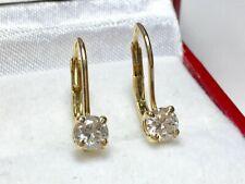 0.70 CT Round Solitaire Diamond Women Beautiful Drop Earrings 14k Yellow Gold GP