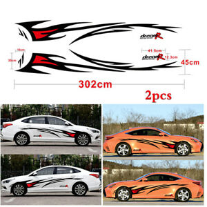 2x Car Auto Body Side Vinyl Decals Sticker Black+Red Flame Graphics Design Decor