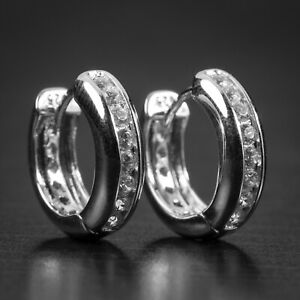 Mens White Gold Plated 925 Sterling Silver Small Iced Huggie Hoop Earrings