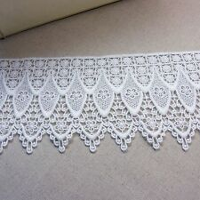 "Vintage ST Scalloped Embroidery Crochet Lace Trim Off White 3.9""(10cm) Wide 1Yd"