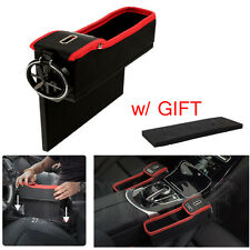 Car Seat Gap Filler Catcher Storage Box Coin Box Red Black + Cup Holder For Left
