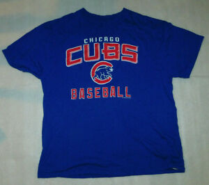 Chicago Cubs Baseball MLB Genuine Blue T-Shirt Team Logo Short Sleeve Mens XL