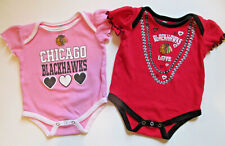 Lot of 2 NHL Chicago Blackhawks Baby Girls 6-9 Months One-Piece Cotton Sleepers