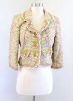 Cynthia Steffe Cute Floral Confetti Tweed Fringe Blazer Jacket Size 4 Green Pink