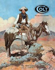 Colt Firearms Gun Tex Vtg Reproduction Metal Sign Cowboy Horse Western Picture