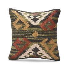 "18x18"" Handwoven Jute Cushion cover Handmade Ethnic Kilim Ethnic Design Pillow"