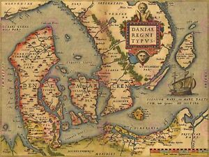 Maps Antique Bvintage Denmark Danish Archipelago Scandinavia Canvas Art Print