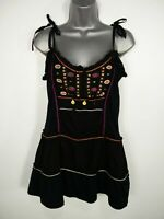 WOMENS NEXT BLACK MULTI EMBELLISHED EMBROIDERED SLEEVELESS FLARE VEST TOP UK 12