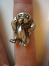 Dog Bloodhound Lovel Gift~Vtg 3D Long Ear Dog Sterling Silver Ring Sz5-7~Free Sh