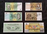 $1 One & $2 Two Dollar + Expo 88 $5 - 2 OF Unc Consecutive Numbers Free Post