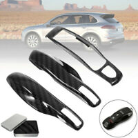 3Pcs Carbon Fiber Remote Key Cover Case Fob For Porsche Panamera Cayenne Macan