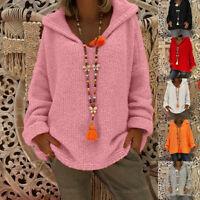 Womens Long Sleeve Autumn Sweater Casual Palin Hoodies Knit Jumper Pullover Tops