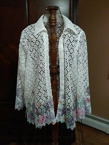 Size 14P Alfred Dunner 3/4 Sleeve White Lace Topper Pastel Purple, Pink, Green