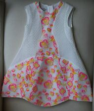 CHRISTIAN DIOR GIRLS WHITE HONEYCOMB DRESS WITH NEON FLORAL EMBROIDERY 4 YEARS