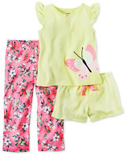 Carter's Girls 3-Pcs Butterfly Set; Floral Pants, Shorts & Top; Yellow/Pink (5)