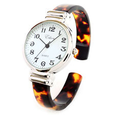 Tortoise Silver Acrylic Band Eikon Slim Case Women's Bangle Cuff WATCH