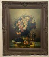 Vintage Framed Signed Floral Still Life Oil on Canvas Painting - N. Baldwin