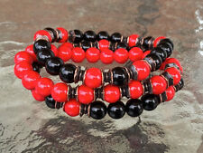 Black Onyx & Red Coral Japa Mala Beads Healing wrist Bracelet
