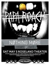 Papa Roach/Nothing More 2018 Portland Concert Tour Poster- Alt / Hard Rock Music