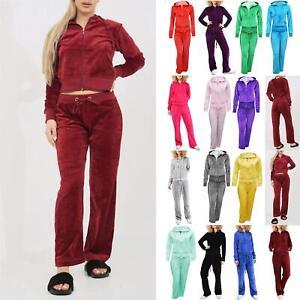 Womens Velvet Velour Hoodies Ladies Hooded Joggers Loungewear 2PCS Tracksuit Set