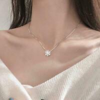Frauen Kristall gefroren Weihnachten Schneeflocke Halskette Anhänger & E3L1