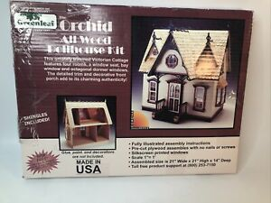 Greenleaf The Orchid All Wood Dollhouse Craft Kit Victorian Cottage 21x21x14