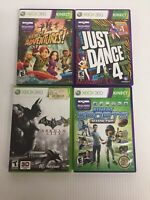 Xbox 360 games lot of 4 Batman, Adventures, Just dance 4, sports season 2