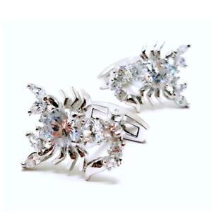 SCORPION CUFFLINKS Sparkling White Crystal NEW w GIFT BAG High Quality Scorpio