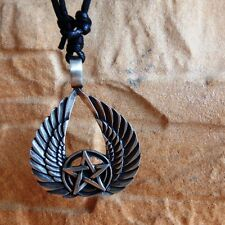 The Aviator Star Wings Pentacle Pentagram Pewter Pendant &Cotton Necklace #1327