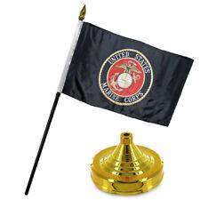 """Marines USMC Black Marine Corps Flag 4""""x6"""" Desk Set Table Gold Base"""
