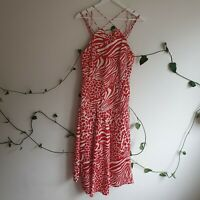 Karen Millen Strappy Red Animal Mix Print Midi Sample Dress UK/AU10 S Asymmetric