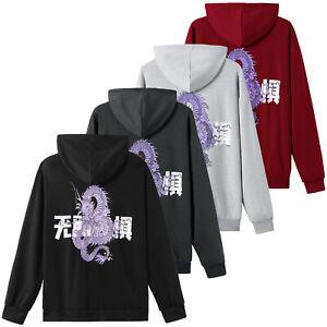 Fashion Men Dragon Hoodies Long Sleeve Casual Hooded Sweatshirt Hip Hop Pullover