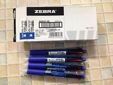 Zebra Clip-on multi pen (4 color + 1 mech) BLUE barrel #B4SA1-BK x 10 pens