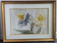 Gen Matucha  Signed Floral Finger Painting in Water Colors, Framed