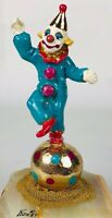 """Ron Lee Clown Balancing On Ball Hand Signed 24k Gold 6.75"""" Tall 1987"""