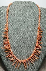 """Vintage Delicate Pink Angel Skin Branch Coral 18"""" Necklace"""