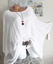 Damen Lagenlook Oversize Bluse Tunika Überwurf  EG 46 48 50 52 Neu weiß +Kette