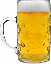 Glass German Beer Tankard. Stein Beer Dimple Glass. Gift Boxed - 2 Pints