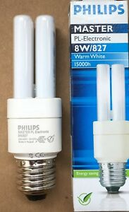 Packs of Philips Master PL-Electronic 8W ES 8 Watt 15,000 hrs Warm White = 40W
