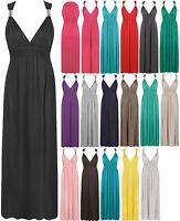 Womens Plain Spring Sleeveless Ladies Full Length Long Stretch Maxi Dress 8-14