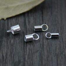 4pcs 925 Sterling Silver Tube Leather Cord End Clasp DIY A2537 3.5mm - 4pcs