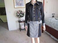 Credibility By Sheri Drobnick Ponte Knit/ Tweed Black Skirt Suit Size J-10 S-6