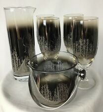 Barware Set Glasses Ice Bucket Martini Pitcher Ombre Fade Embossed Trees 6 pc