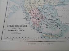 Antique Map 1890 TURKEY IN EUROPE + MORE - From Philips Atlas For Beginners  §15