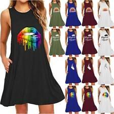 Women's Summer Holiday Sleeveless Tank Dress A-Line Swing Vest Cotton Sundress