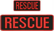 RESCUE embroidery Patches 3x10 and 2x5 hook ON BACK red letters and border