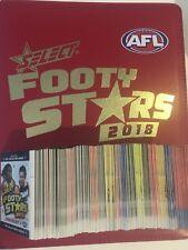 2018 FOOTY STARS  ALBUM FOLDER & FULL BASE SET AFL & AFLW (1- 254) CARDS &FLYER